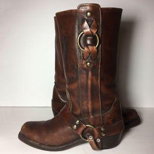 Frye 77270 Harness Brown Motorcycle Boots Size 7.5